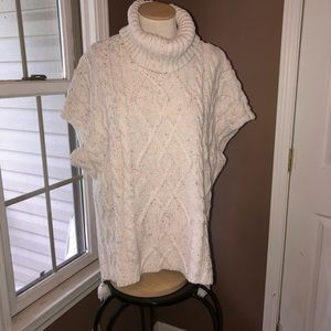 Ivory Cable Knit Cow Neck Sweater